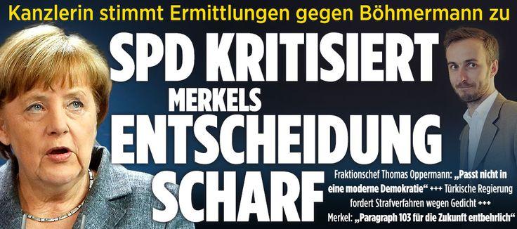 Merkels Entscheidung im Fall Böhmermann! http://www.bild.de/politik/inland/angela-merkel/merkel-entscheidet-sich-im-fall-boehmermann-45386196.bild.html and respect for #SPD,though usually even SPD,who likes ABitABit a #lawyer like a SPD-BW minister,no wonder lost election lol