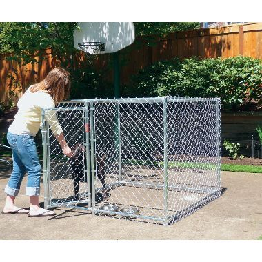 Lucky Dog 4'x5'x5' Chain Link Dog Kennel at Cabela's.  use indoors instead of crate.