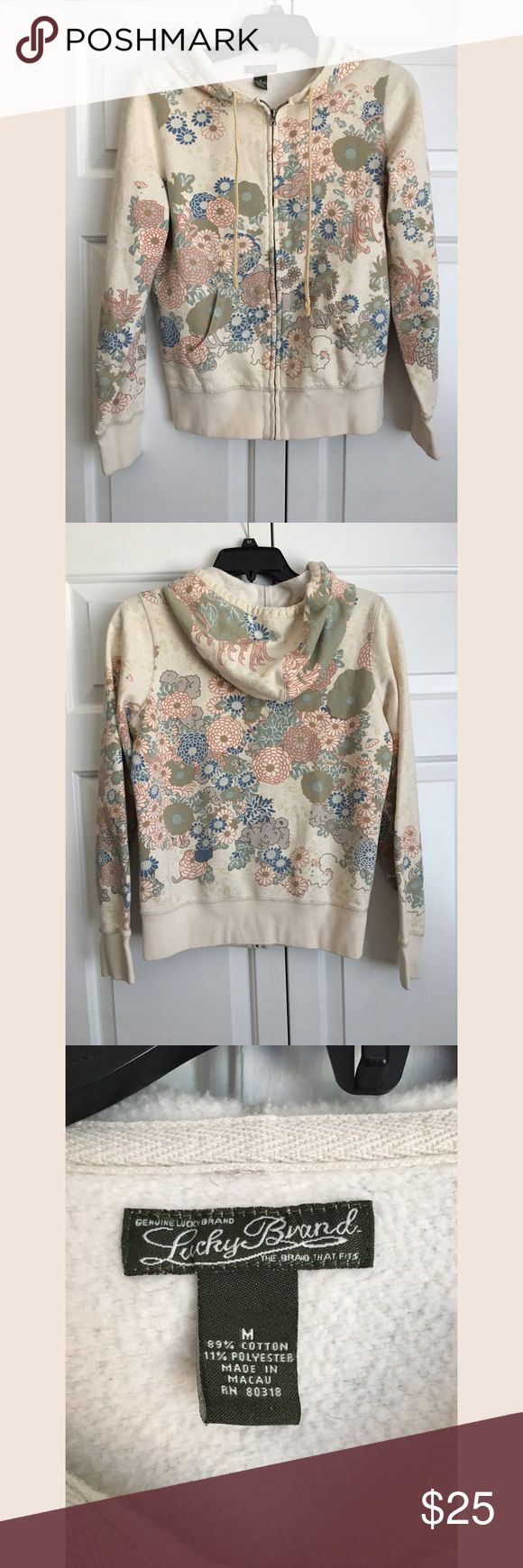 Lucky Brand Boho Floral Zip Up Hoodie -Size Medium Excellent used condition! From a smoke and pet free home. No trades. Lucky Brand Tops Sweatshirts & Hoodies