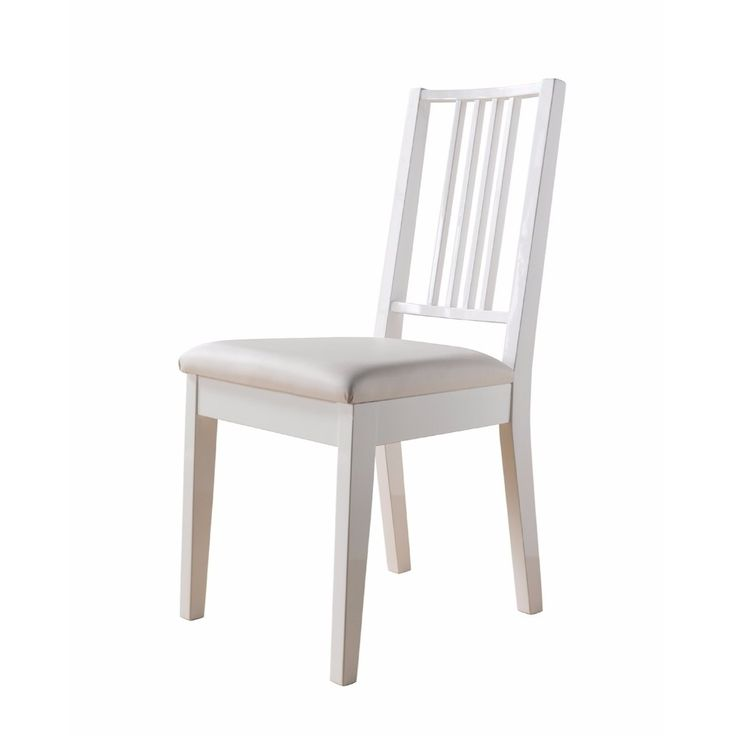 Benzara Lustrous Wooden Dining Chair With Solid Legs, White