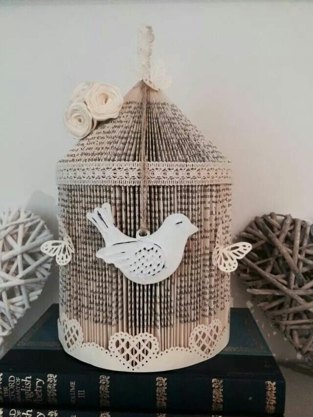 Folded used book for Birdcage using basic repeated folds