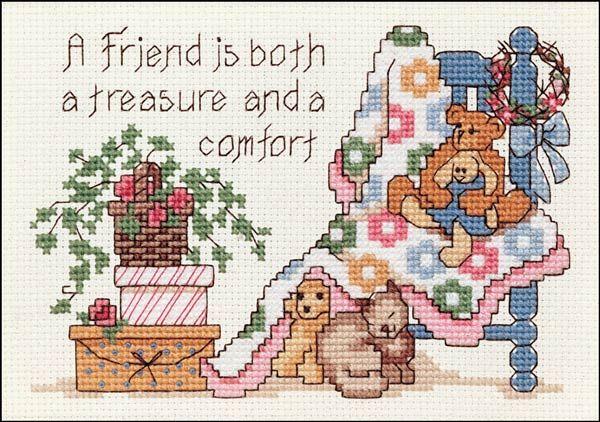 counted cross stitch best friend | FRIEND IS A TREASURE ~ counted cross stitch kit ~ RARE