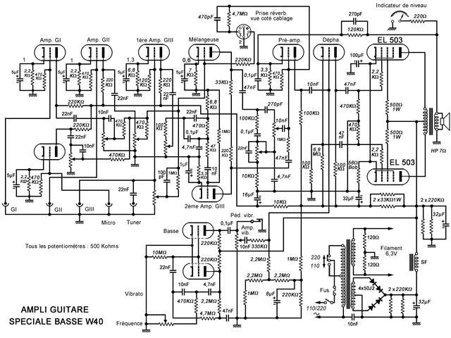 Schéma de l'ampli guitare W40