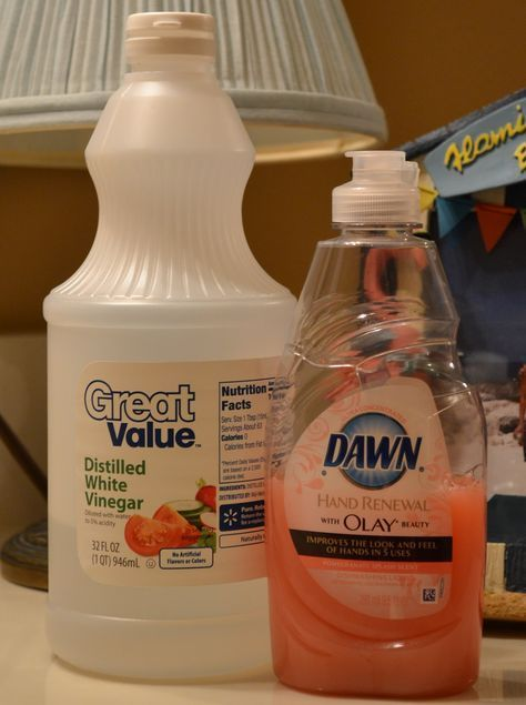 Homemade Shower Cleaner:Simply put 1 C white vinegar in the microwave until warm and mix with 1 C Dawn Dish. Put this into a spray bottle and you have an AMAZING shower cleaner. For tough soap scum, you can spray and leave overnight.