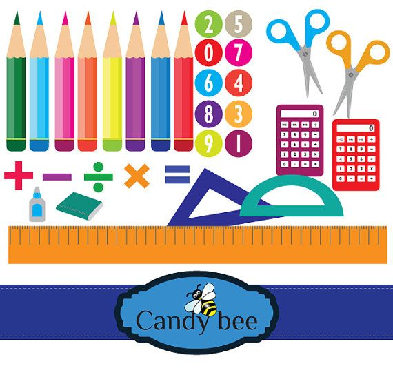 Back To School Supplies Clipart Calculator By CandyBeeDesigns