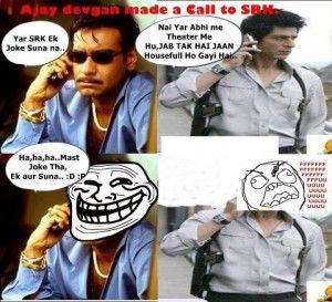 Sharukh Khan (SRK) #Funny #Trolled By #AjayDevgan at http://HindiTrolls.Com . Get Daily Latest Funny #Jokes  & Trolls Here.