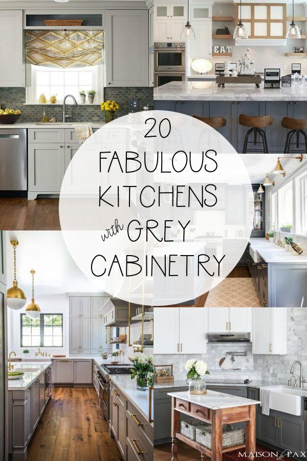 20 Fabulous Kitchens Featuring Grey Kitchen Cabinets The Happy Housie Kitchen Cabinets Painted Grey Grey Kitchen Cabinets Light Grey Kitchen Cabinets