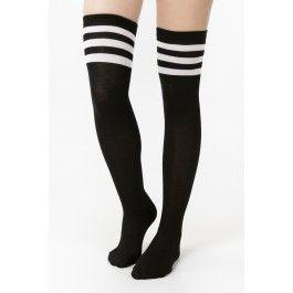 Striped over-the-knee socks