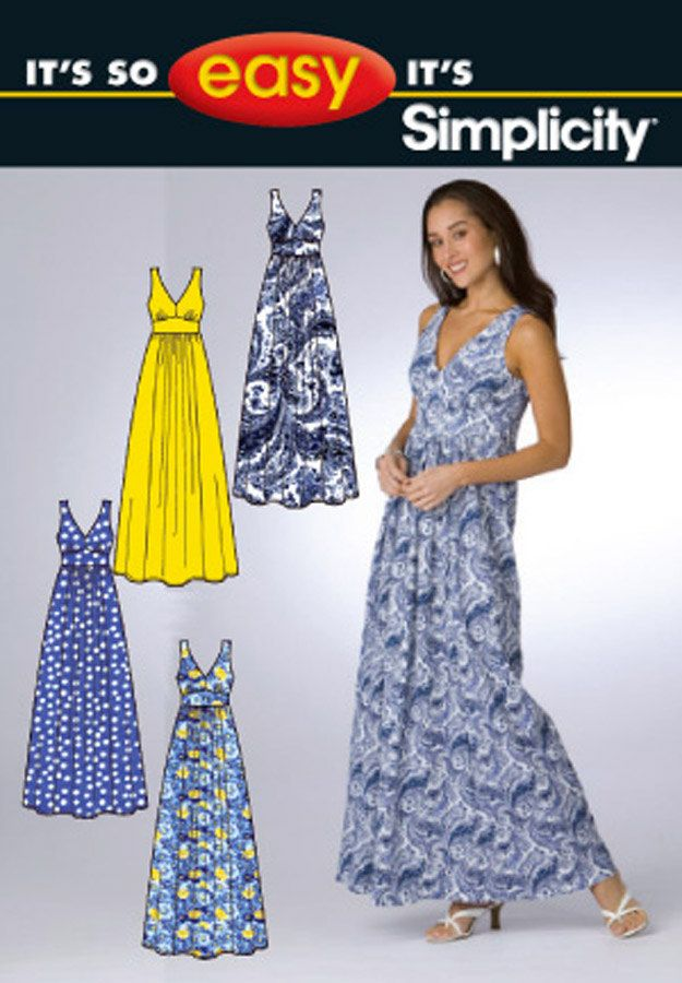 Boho Maxi Sun Dress Pattern Easy Empire Waist, Fitted Midriff Simplicity 2638 Womens Sewing Pattern Plus and Average Size 6-16  UNCUT by sandritocat on Etsy