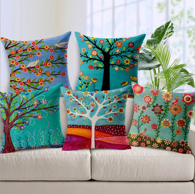 Cushion Cover On Sale At Reasonable Prices Buy Hand Painted Flower Tree Print Cushion Covers For Sofa Cotton Linen Car Seat Home Decorative Cushion Case