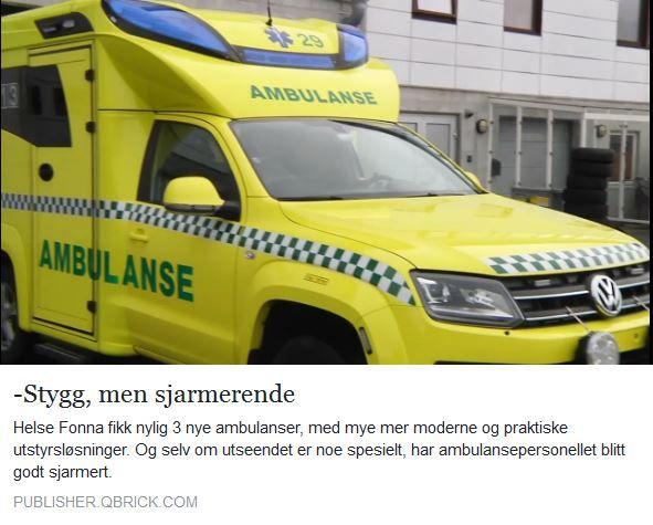 Helse Fonna fikk nylig 3 nye ambulanser, med mye mer moderne og praktiske utstyrsløsninger. Og selv om utseendet er noe spesielt, har ambulansepersonellet blitt godt sjarmert. Helse Fonna in Norway recently received 3 new ambulances, with much more modern and practical equipment solutions. And although the look is something special, have paramedics been well charmed. Watch the Norwegian video:  http://www.h-avis.no/stygg-men-sjarmerende/v/5-62-131885