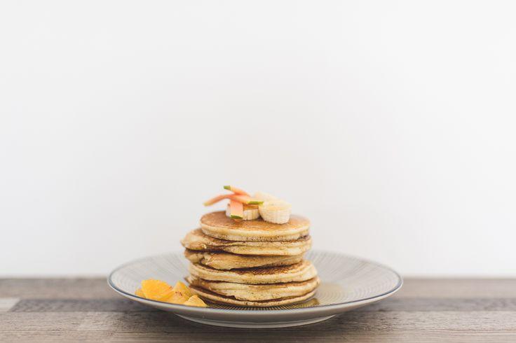Pancakes & banana & maple syrup  Yummy