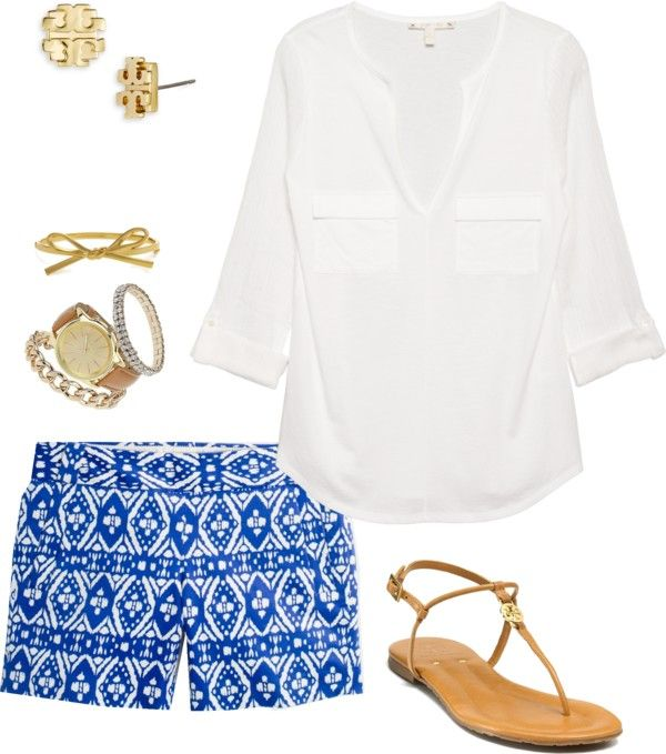 printed shorts white tunic, gold accesories.  summer staple outfit