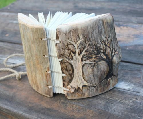 They say it is a rustic wedding journal, I say it is a fairy book :)Trees Trunks, Book Of Shadows, Carvings Wood, Handmade Book, Art Journals, Book Covers, Wood Carvings, Rustic Wood, Rustic Wedding