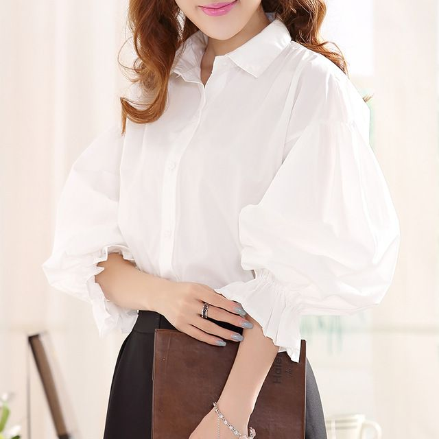 Lantern Sleeve Blouses Womens 2017 New Fashion Cotton Blusas Femininas Vintage Plus size Loose Turn-down collar Tops White Shirt