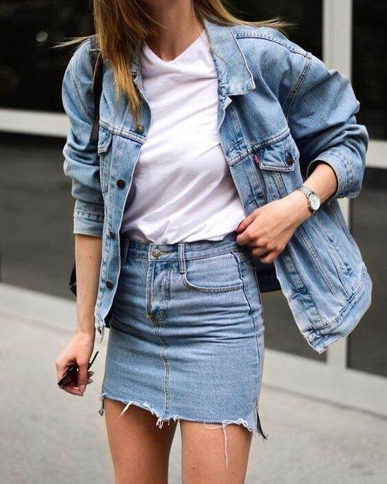 Spring | Summer | Denim | Denim on Denim | White shirt | Casual | Denim skirt | …