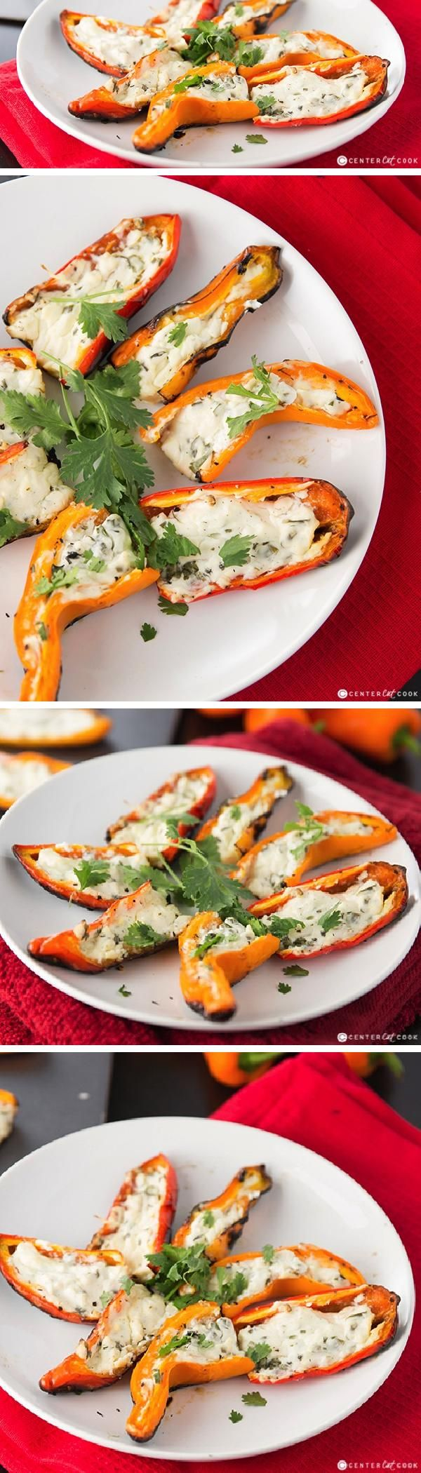 Light GRILLED STUFFED (vegetarian) MINI BELL PEPPERS work perfectly as a side dish, or as an appetizer! Stuffed with cream cheese, a little sour cream, cilantro and lime, these stuffed bell peppers are flavorful and delicious!