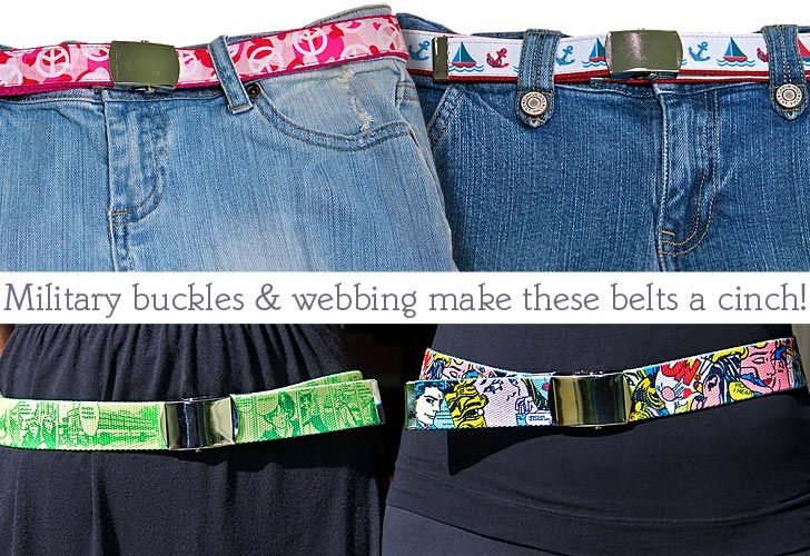 DIY belts for the kiddos,  @http://sew4home.com/projects/fabric-art-a-accents/696-its-a-cinch-fast-a-fab-webbing-belts-for-kids-and-adults