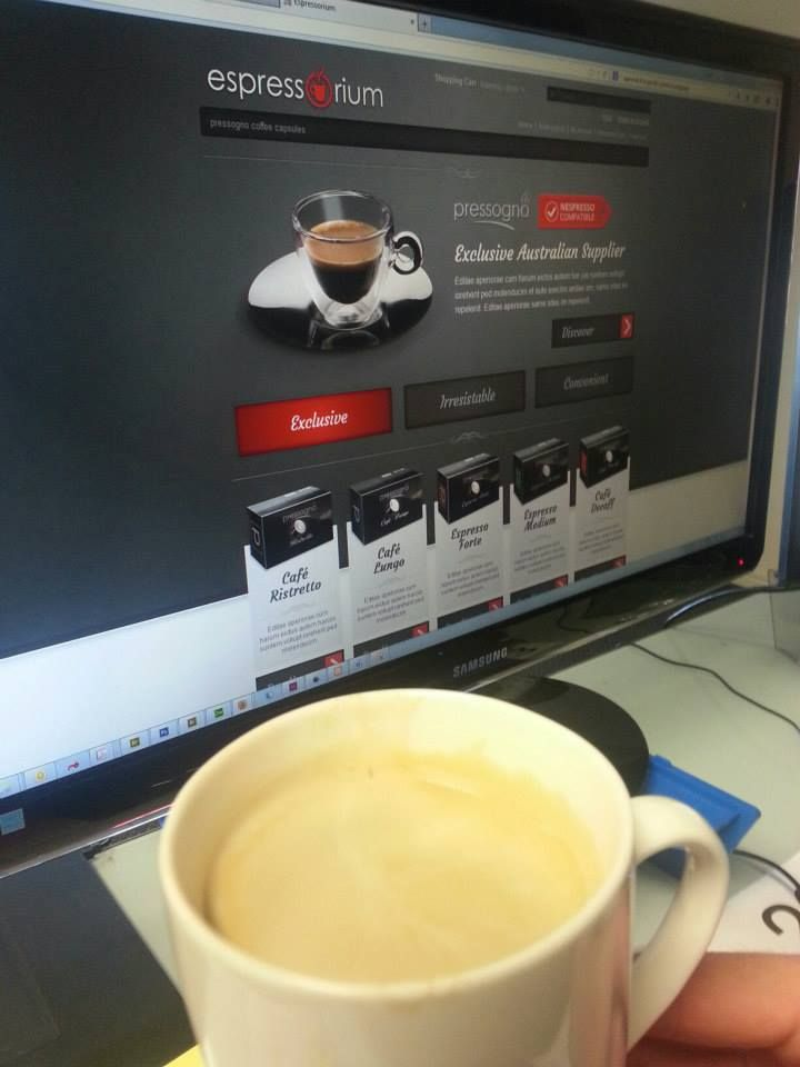 The temptation is just too much when you're working on a website for an amazing coffee supplier! www.espressorium.com.au