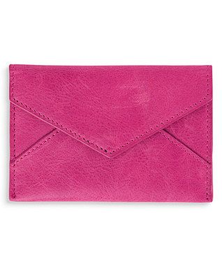 Pink Leather Business Card Holder//