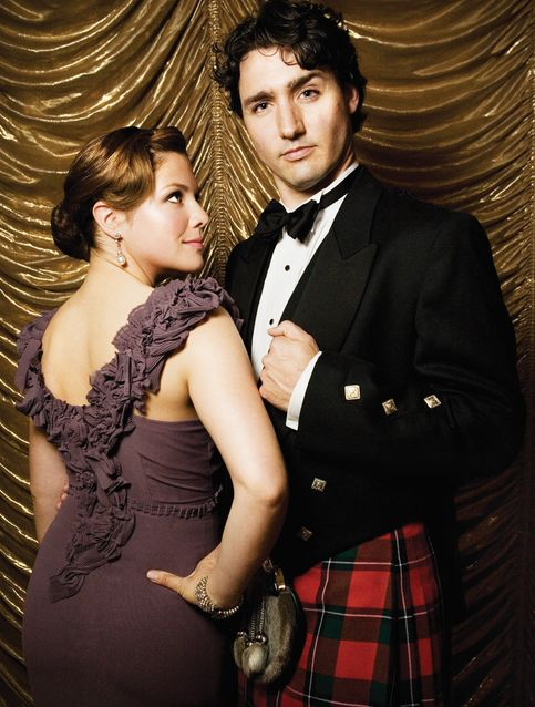 Sophie Grégoire and Prime Minister Justin Trudeau at the Bal de la Jonquille - Daffodil Ball - Montreal. Justin wears the kilt of his mother's clan, the Sinclairs.