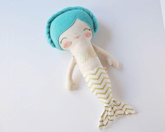Marina  Teal Hair Mermaid Rag Doll  by PocketswithPosies on Etsy
