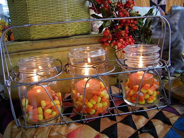 candles and candy corn: Magazine, Holiday Ideas, Inspiration, Autumn, Candy Corn, Jar Candles, Fall Candles, Decorating, Halloween Ideas