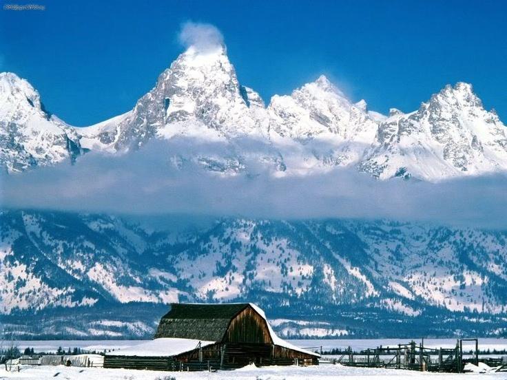 Jackson Wyoming, those mountians are the Grand Tetons :)