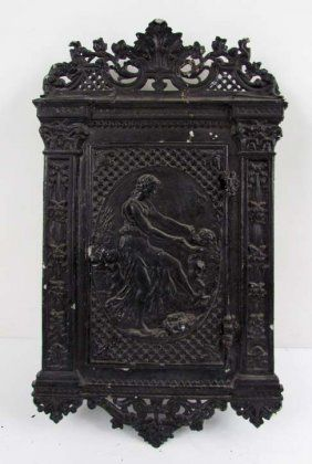 Cast Iron Antique Letterbox; Image of Dancing Mother & Child