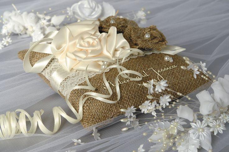 Rustic Wedding Pillow / Lace Wedding Pillow / Wedding Pillow natural burlap/ Ring Bearer Pillow Embroidery Names /Custom colors (37.00 USD) by DreamWeddingg