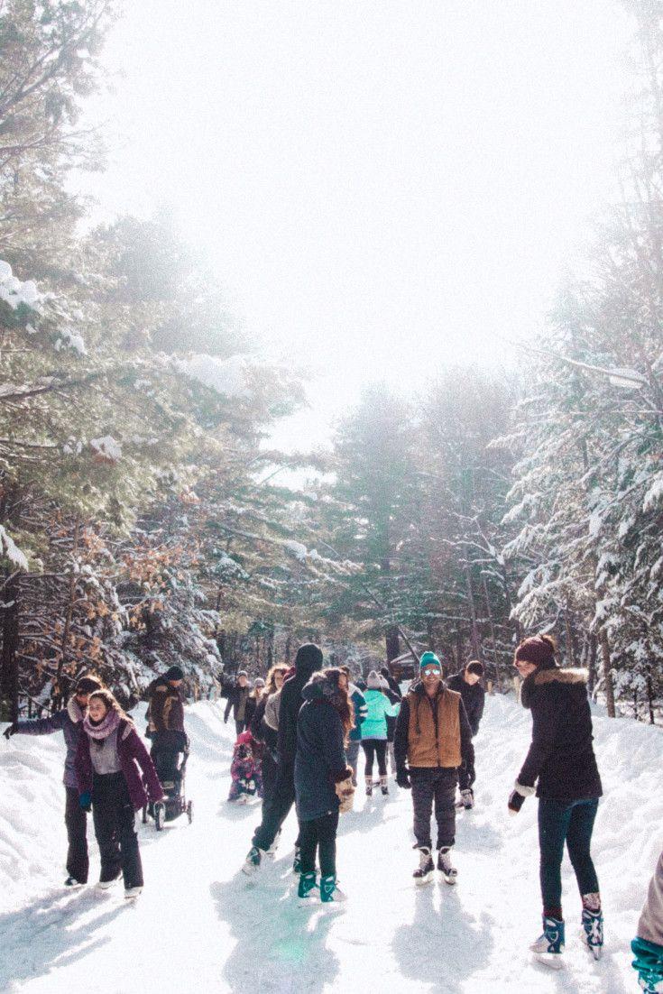 Skating Through A Winter Wonderland At Arrowhead Provincial Park #huntsville #muskoka #ontario #canada #explorecanada skating through a forest, winter activities, skating trails in canada