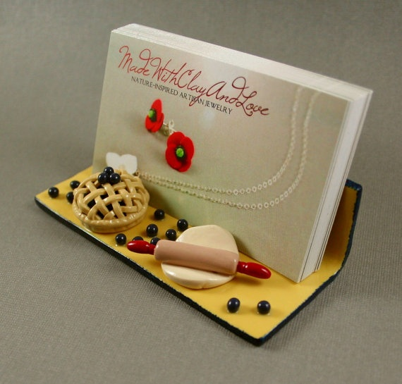 Adorable Hand Sculpted Clay Business Card Holder