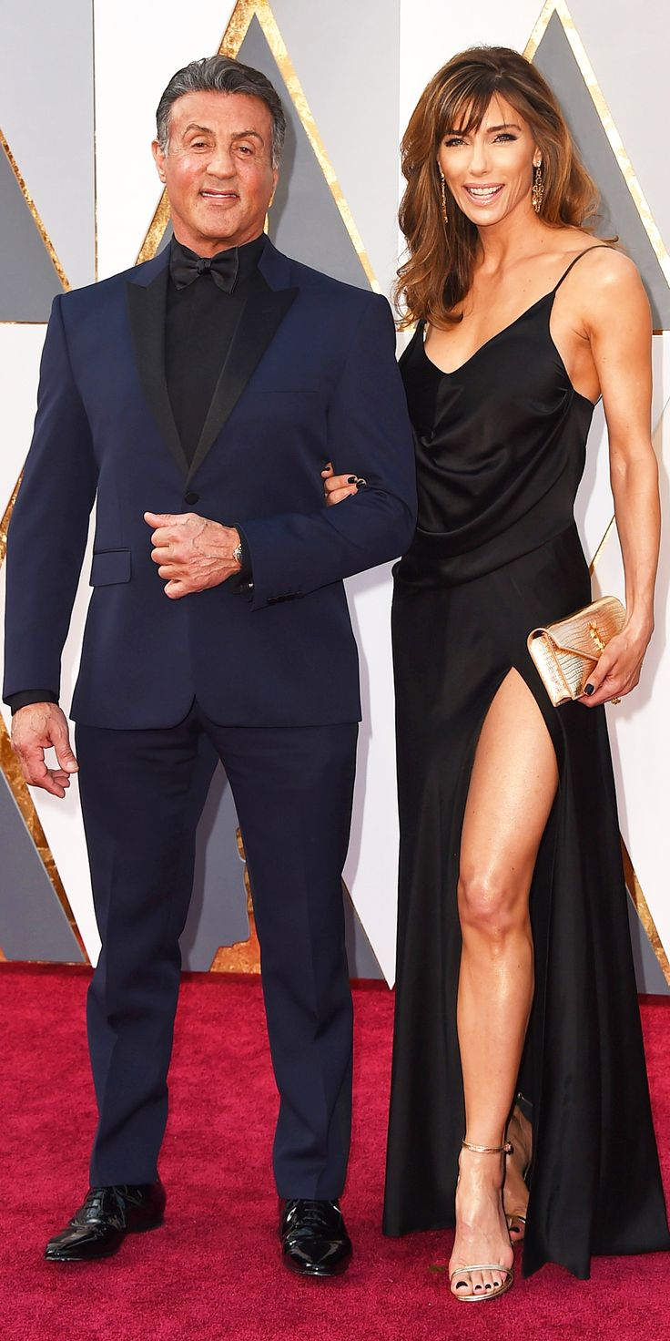2016 Oscars Red Carpet Photos - Sylvester Stallone in Yves Saint Laurent Couture with wife Jennifer Flavin in Saint Laurent.   - from InStyle.com