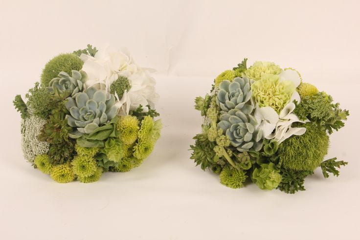 All green bouquets with succulents - Rustic wedding flowers made by Amy's Flowers