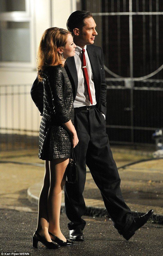 """Emily Browning and Tom Hardy on set of the Kray Twins project """"Legend"""" (2015) in the early hours of the morning, July 18th, 2014"""