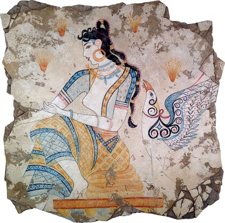 The Saffron Goddess (1600 B.C.) is a detail from a Minoan fresco depicting a saffron harvest. She sits supervising the plucking of flowers and the gleaning of stigmas for use in the manufacture of what is possibly a therapeutic drug. A mythological griffin, considered to be a combination of the body of a lion as king of the beasts and the head of an eagle, stands guard.