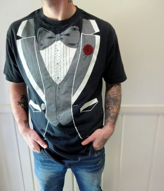 Vintage Tuxedo TShirt 1980 by WylieOwlVintage on Etsy, $22.00