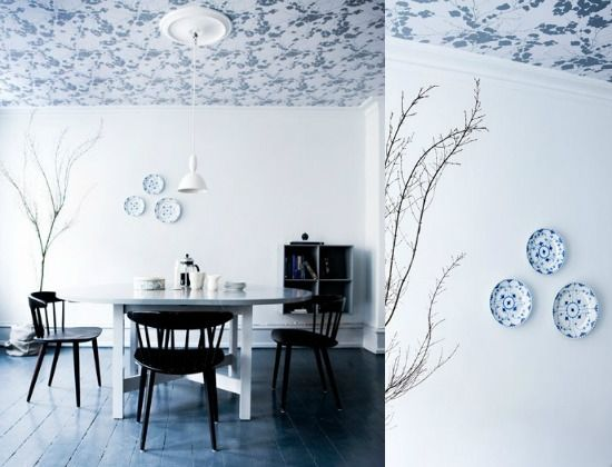 Wallpaper on the ceiling. What a great idea! Cute for my attic with sloping walls.