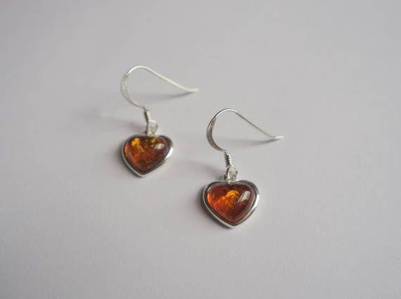 Amber Heart Charm Earrings Sterling Silver Dangle by HaniaMarysia