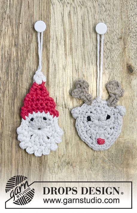 Jolly Good Mates - Santa and reindeer hanging ornament by DROPS Design. Free Crochet Pattern