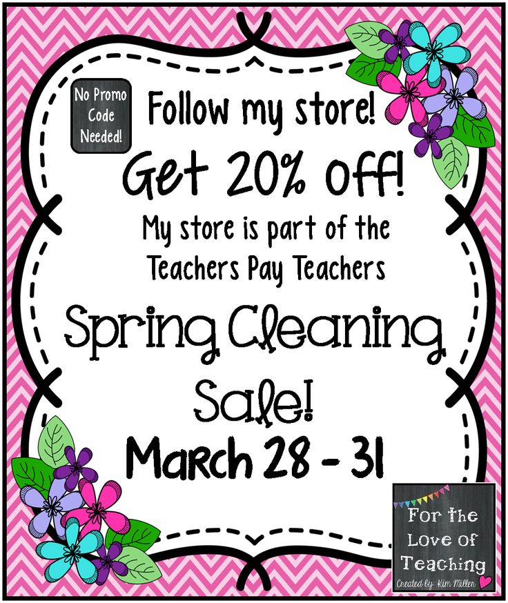 TPT SPRING CLEANING SALE!!!  Get 20% off everything in my store thru March 31st! http://www.teacherspayteachers.com/Store/Kim-Miller-24