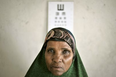 Portrait of a 59-year-old woman with cataracts in her eyes, at a medical centre of the African Union Mission in Somalia (AMISOM) in Mogadishu.