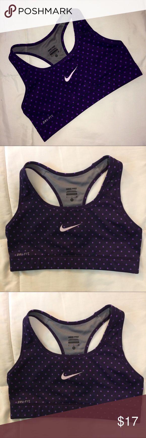 Nike pro purple polka dot dri fit sports bra sz S Very cute Nike sports bra! Purple polka dot pattern. Size Small. Dri-fit! Nike Intimates & Sleepwear Bras