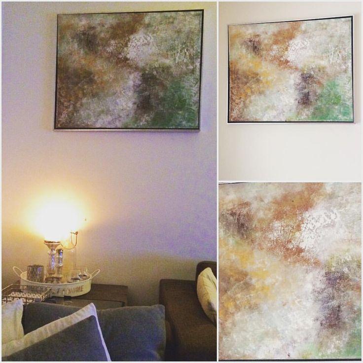 Venter på ny sofa, og nye farger i stua gir inspirasjon  Lerret på treramme 60x75cm med sølvfarget ramme på utsiden, i brunt, grått, grønt og hvitt #canvas #lerret #maleri #malerier #maleriertilsalg #akrylmaling #acrylicpaint #abstrakt #abstraktkunst #abstractart #cognaccolor