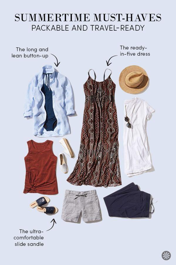 Welcome summer with the lightest styles for all your warm-weather endeavors. Our list of must-haves includes lightweight, washable dresses that pack down small, long and lean button-up shirts you can wear over everything, and slide sandals made for beach-to-town days.