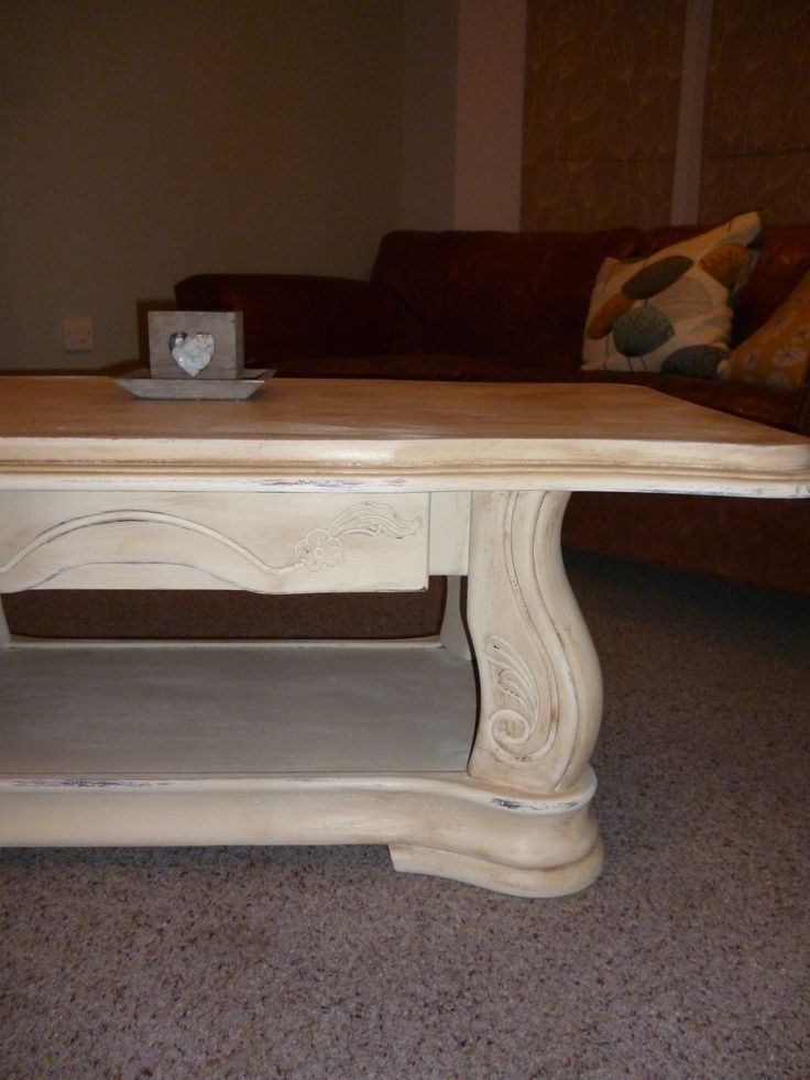 Solid oak vintage coffee table finished in Annie Sloan old ochre
