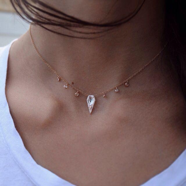 14kt rose gold and diamond white topaz dagger drip necklace – Luna Skye by Samantha Conn