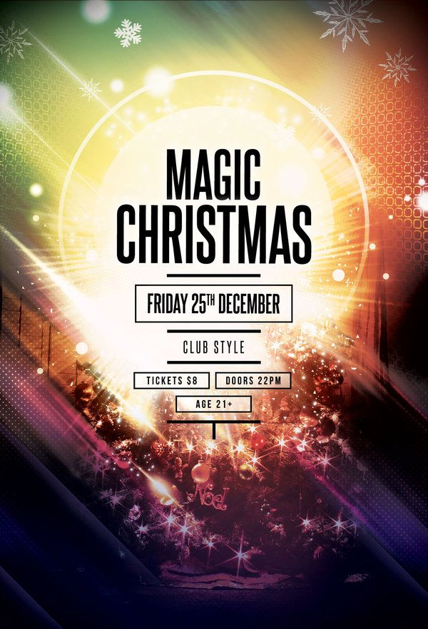 Magic Christmas #Flyer #Template by styleWish (Buy #PSD file $9)