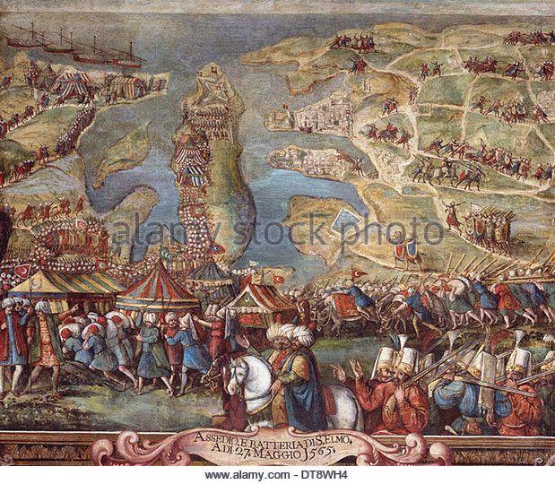 The siege of Malta. Detail. Artist: Perez d'Aleccio (da Lecce), Matteo (1547-1616) - Stock Image