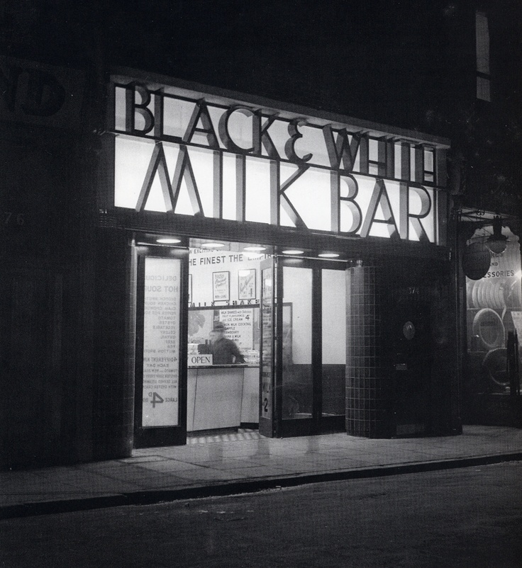 black and white milk bar